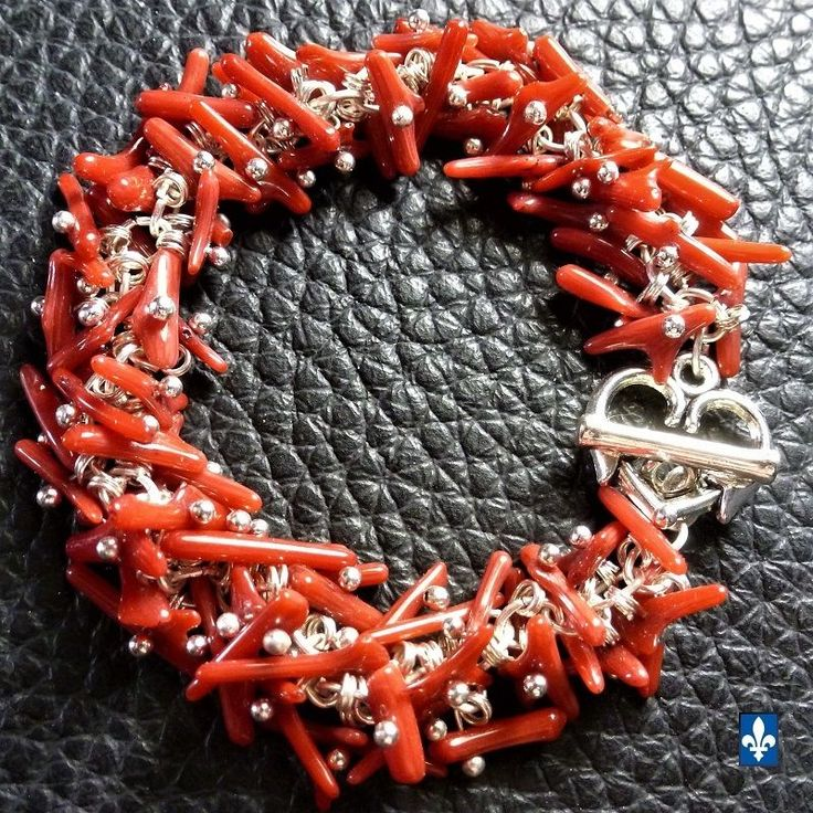 ♥ Delicate Red Natural Coral Plated Silver Bracelet