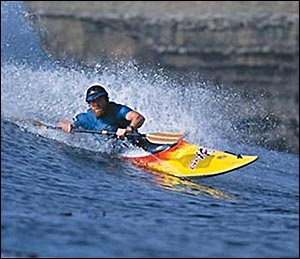 Dan Crandall, two time National surf kayaking Champion, 2005 World Master's Champion and continuous member of the World Championship US West Kayak Surfing Team since 1991