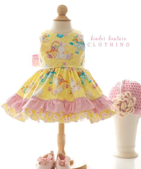 Daffodil Girls Easter Bunny Dress from Kinder Kouture.  Yellow, Pink, Bunny, Baby, Clothing