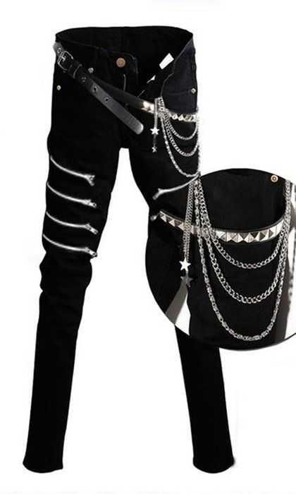 Mens Punk Hiphop Revits Pants Black Denim Jeans Pencil Trousers+Chain Asian 33 (US 32) Black