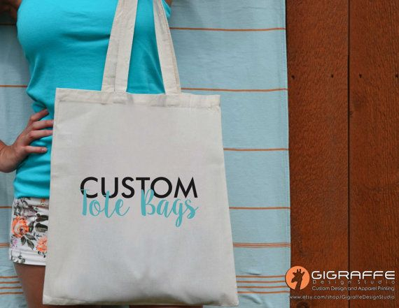 Custom Tote bags  Reusable canvas tote bag by GigraffeDesignStudio