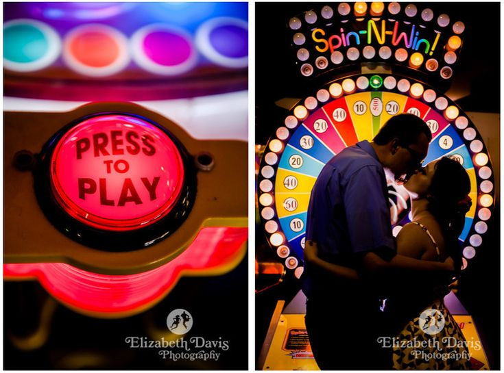 Steve & Cherie Arcade Engagement Session by Elizabeth Davis Photography | Tallahassee, Florida Wedding Photographer | Click here to see the whole fun, colorful engagement session: http://elizabethdavisphotoblog.com/steve-cherie-engagement-session/