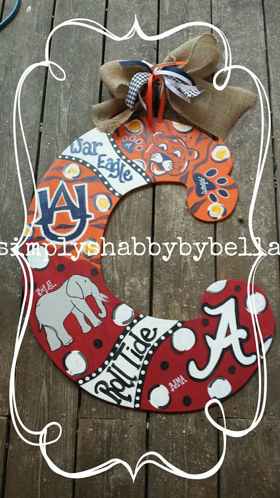 House divided Auburn / alabama personalized wood door hanger