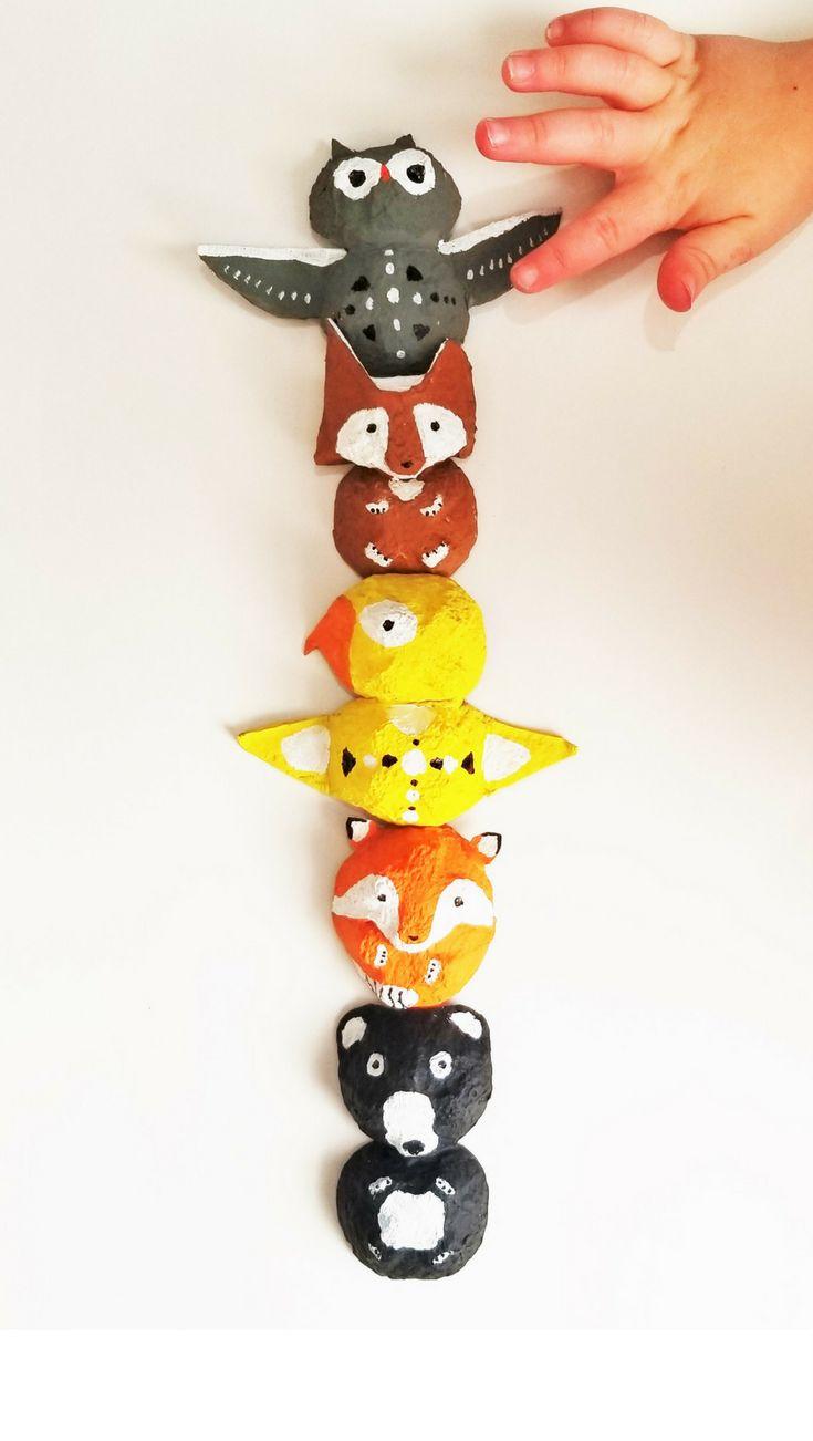 Make a totem pole from egg cartons! #brainybeginningsnetwork