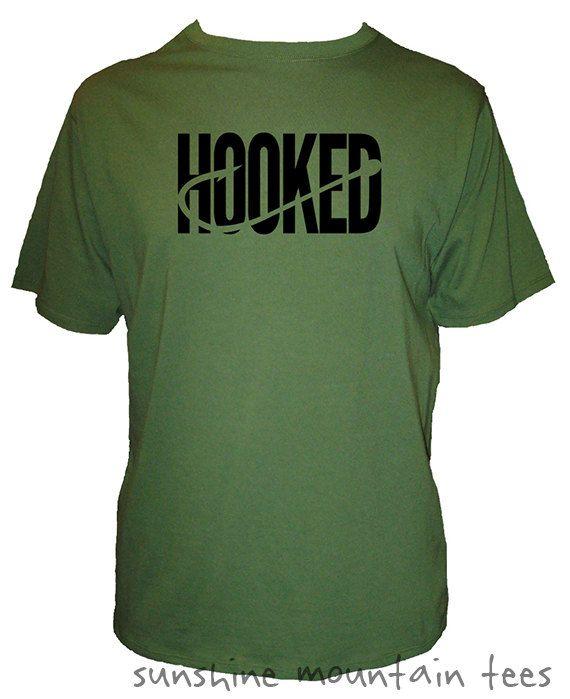 Fishing Shirt - Mens Fishing Hooked - Fish Hook T Shirt - Mens Organic Shirt - Gift Friendly