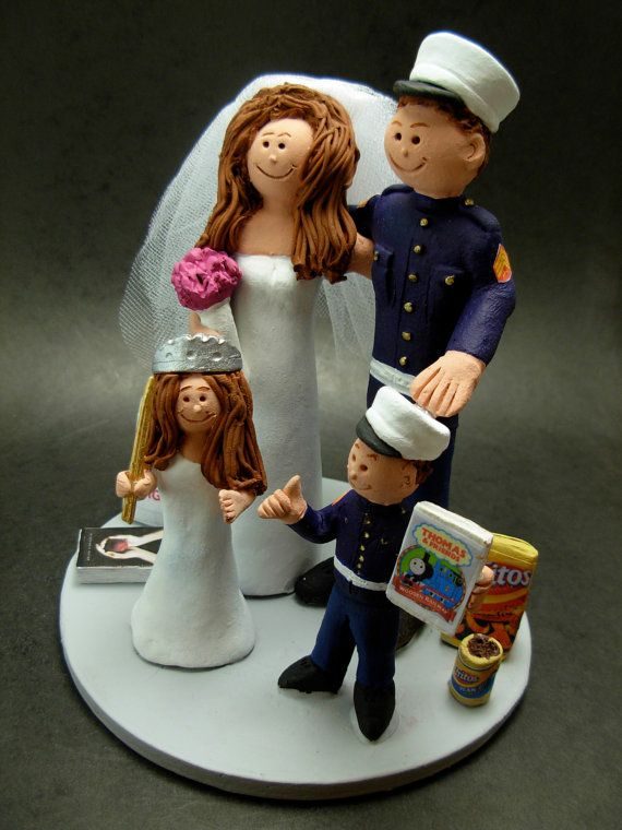 Army Wedding Cake Topper, US Military Wedding Cake Topper, Wedding Cake Topper with Children,    a fired clay Wedding Cake Topper for a Family, custom created for you! Don't you want to include the kids in your wedding cake topper? Handmade to your specifications by Hunter, Jupiter and Lois Vaughan of www.magicmud.com     $235 #magicmud 1 800 231 9814 www.magicmud.com