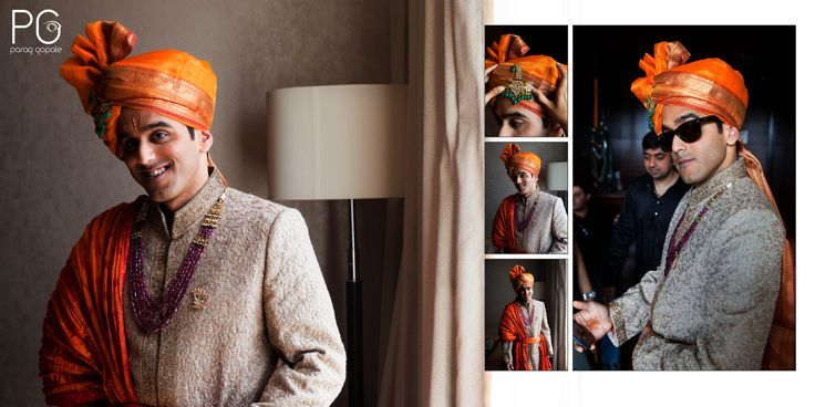 In the adjacent suite to his bride's, Ashok was getting ready in his regal shervani and as he admits he's 'one hell of a lucky guy to end up with a gorgeous bride'. One of the most fun loving groom i have shot and i can say that because he actually danced in his own baarat while sitting on a horse & munching candies.    #CandidWeddingPhotography #BehindTheScenes #GroomGettingReady #Shervani #Saafa #RoyalLook #Moments #ParagGopalePhotography #PG #RayBan…