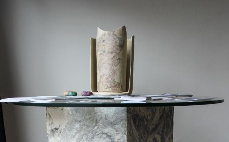 Munira. Table lamp made entirely by hand in Malta di Geris (Mortar of Geris).