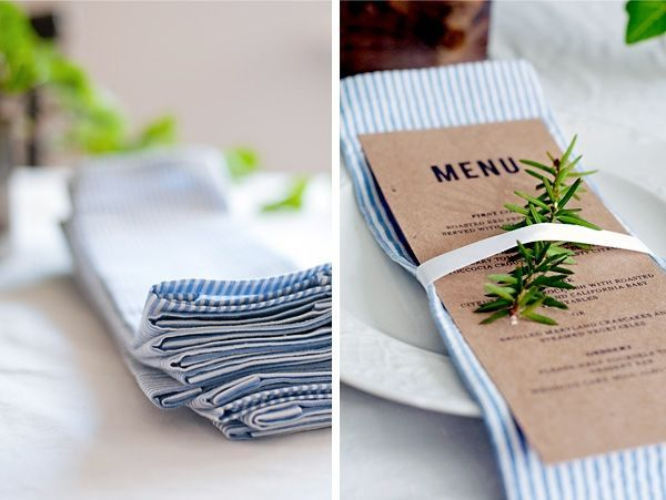 "This one had me at ""no-sew!"" I love personalized linens at a wedding: napkins, table runners, or all of the above. But this DIY scores major bonus points for needing no sewing skills. And I love that seersucker fabric too."
