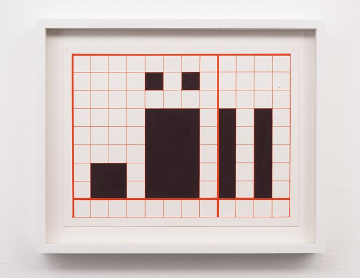 "Channa Horwitz, Language Series III, Gouache on Paper, 14 x 16"", 1964"