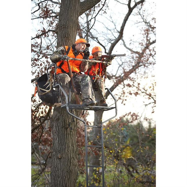 Guide Gear 18' Deluxe 2-Man Ladder Tree Stand - 658560, Ladder Tree Stands at Sportsman's Guide