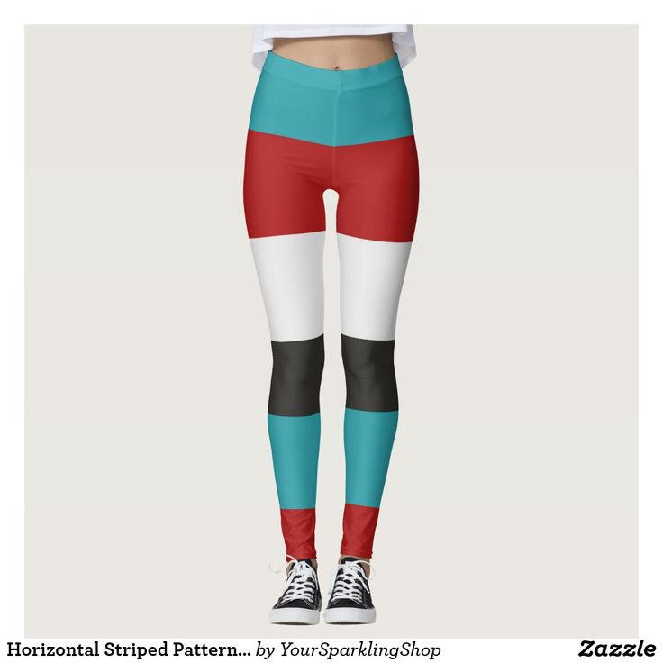 Horizontal Striped Pattern Dark Turquoise Red Gray  #leggings