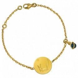 Bracelet médaille Le Renard du Petit Prince et planète bleue (or et émail)