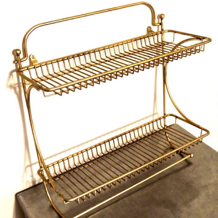 Vintage 1950s-60s midcentury hollywood regency gold metal wall-mount shelves; some extremely minor signs of light-normal age/use but overall fantastic condition.