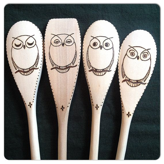 Custom Wood Burned Spoons 4 Expressions Owls set of by SueMadeThat