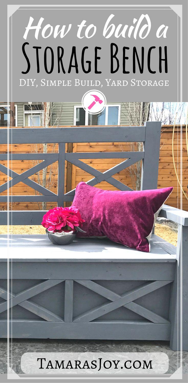 DIY Outdoor Storage Bench, Ana White inspired! - Tamara's Joy