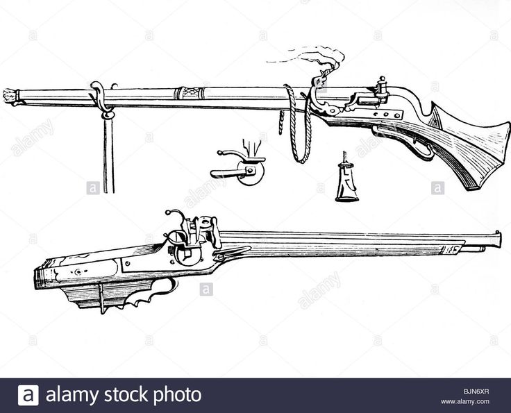 weapons, rifles, above: musket with matchlock, below: arquebus with wheellock, 16th century, engraving, historic, historical, we Stock Photo