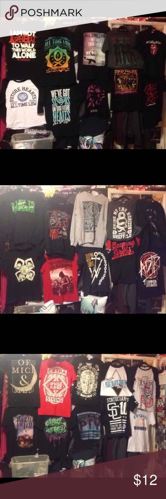 Band Merch I want to sell a bunch of my old band shirts that've been sitting aroundThe Of Mice And Men Moon Shirt has a small bleach stain on the bottom. The red OMAM shirt is signed. 2 OMAM 1 Hands Like Houses 3 Sleeping With Sirens 7 Pierce The Veil My Chemical Romance SOLD 5 All Time Low 2 A Day To Remember 1 5SOS 1 Falling In Reverse 1 Set It Off 1 State Champs 1 Melanie Martinez w/tags 1Fall Out Boy 1Rolling Stones.Only selling bracelets in pairs of 3 $310 for all shirts/sweatshirts…