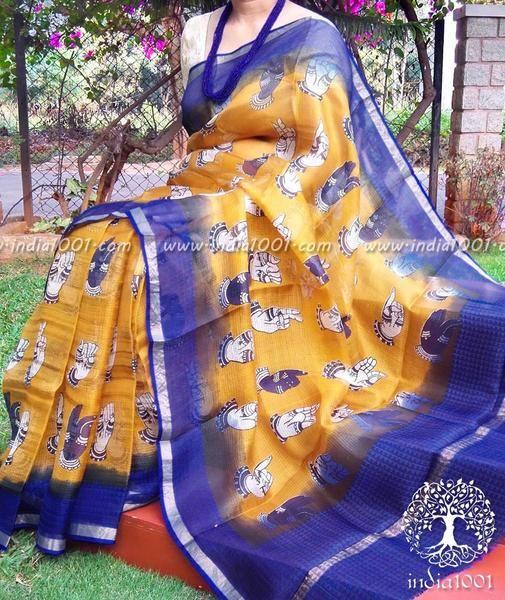 Beautiful Kota Silk Saree with Kalamkari block print