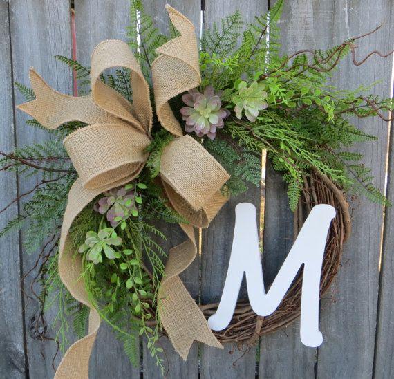 Succulent Wreath  Wreath for All Year Round  Monogram
