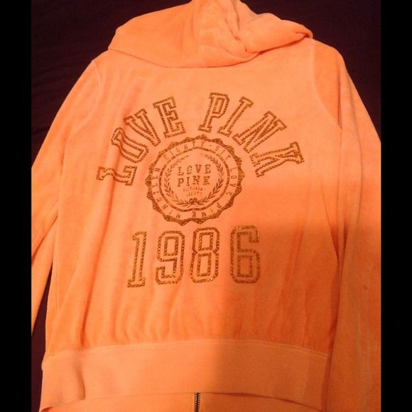 Victoria secret orange zip up hoodie Orange bling zip up :) medium Victoria's Secret Sweaters