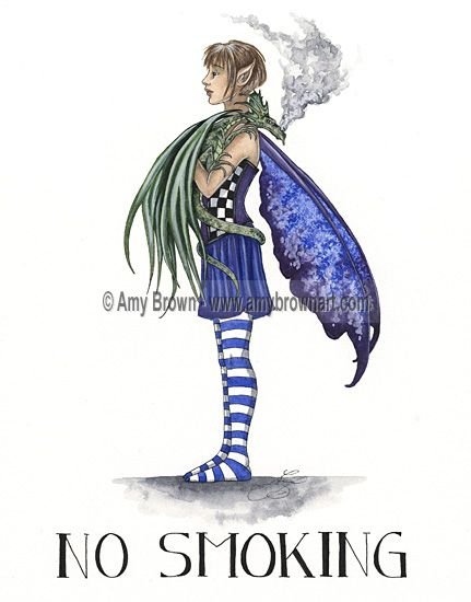 """""""No Smoking"""" ORIGINAL ART - Watercolor Paintings I - P - Amy Brown Fairy Art - The Official Gallery"""