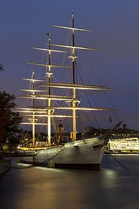 Af Chapman at Skeppsholmen in Stockholm City. Full rigged steel ship is now used as a youth hostel. How cool