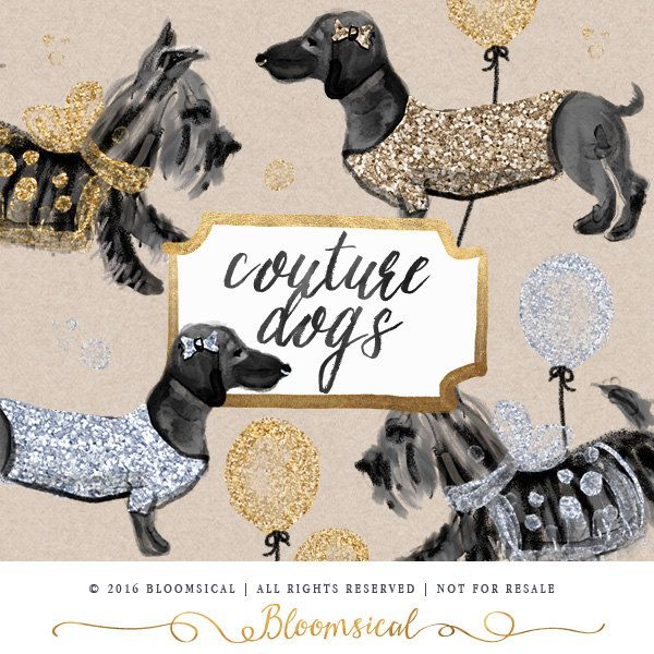 Hunde ClipArt Hand Painted Couture Hund Foxterrier von Bloomsical