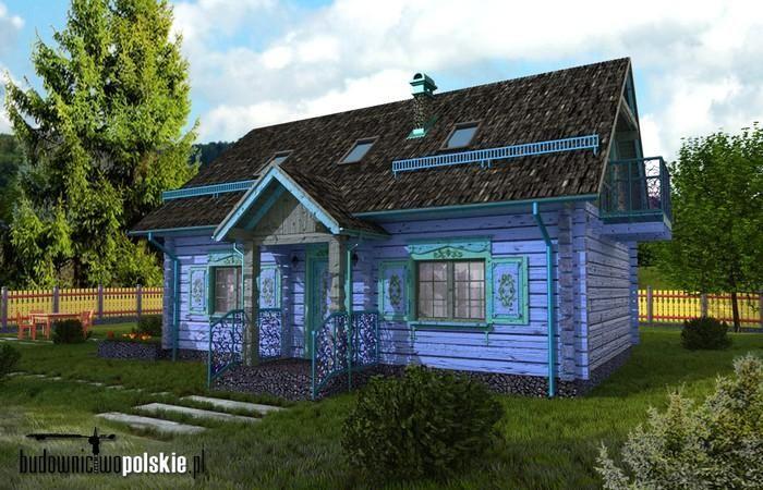 Miniatura: Projekt domu drewnianego z bali DBC-086C w stylu podlaskim - widok 1