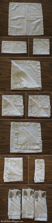 Napkin Folding #diy #crafts www.BlueRainbowDesign.com