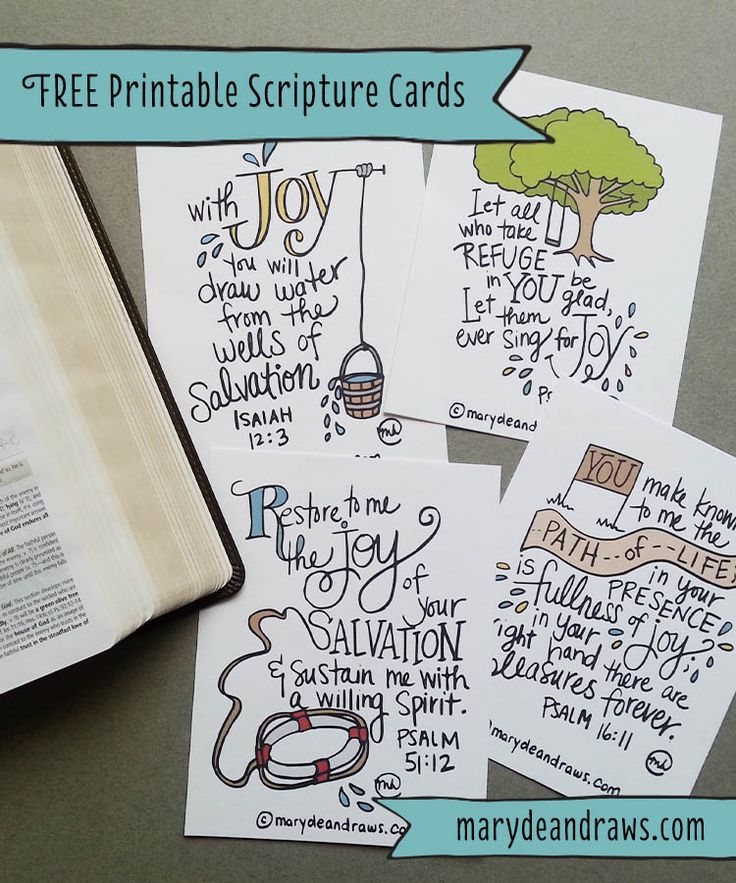 MarydeanDraws.com - Free Printable Joy Scripture Cards