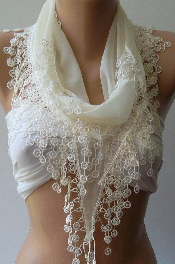 Ivory Beige  Elegance Shawl: Summer Scarves, Elegant Shawl, Ivory Beige, Beige Elegant, Lace Edge, Cotton Scarfs, Elegant Scarfs, Bridesmaid Gifts, Scarfs Summer