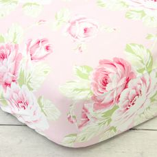 Shabby Chic Roses Bumperless Ruffle Crib Bedding
