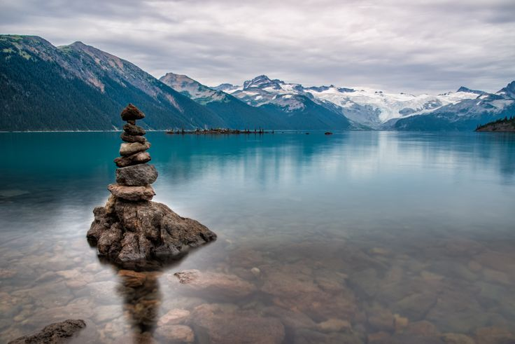 Lots of rocks piled up around the sore of Garibaldi lake. This is a glacier fed lake so it is very cold year round. So it is pretty impressive that someone swam out to the island in the distance to pile the rocks.