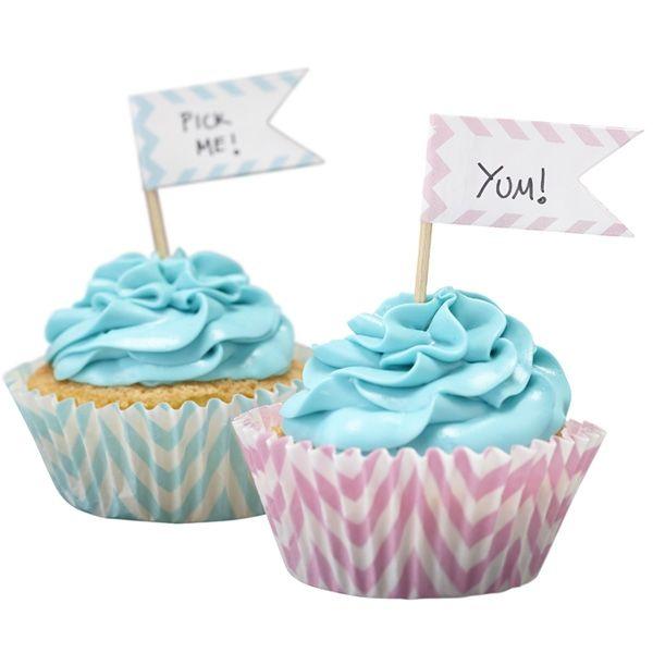 "Cupcake Fähnchen ""Chevron"", 15 St., rosa/blau/silber"