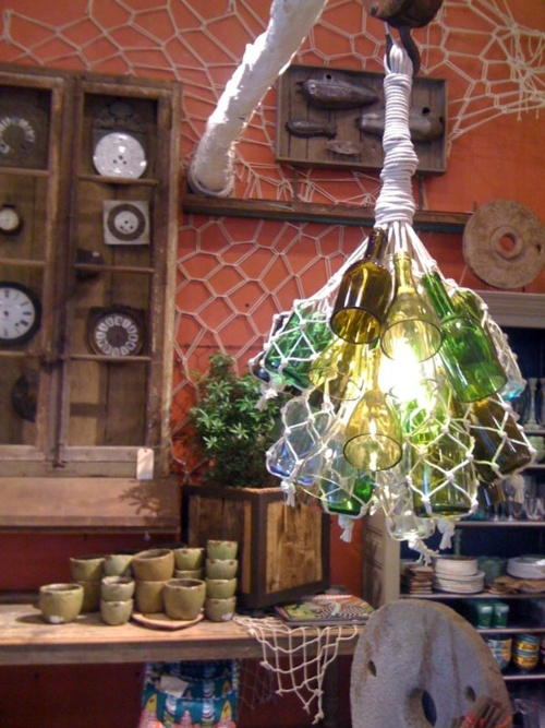 Diy chandelier made out of halved wine bottles and vintage for Glasses made out of bottles