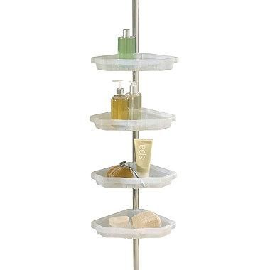 Organize your bath items and tidy up your tub and shower area with this 4-tier aluminum shower caddy. Tension pole design allows for easy installation and four convenient shelves let you store and keep bath essentials within easy reach.: 4 Shelf Tension, Tension Pole, Atlas 4 Shelf, Corner Showers, Shower Caddy, Sleep Atlas, Better Sleep, Pole Corner, Shower Caddies