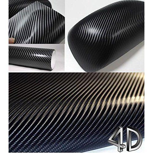TCBunny 3D Carbon Fiber Vinyl Film Wrap Sticker Sheet, Black - 12 Inch x 60 Inch