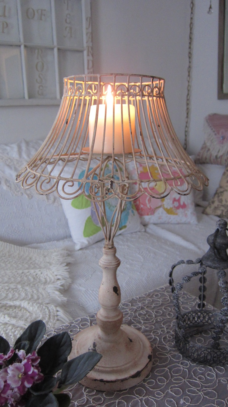 wire lamp with a candle | ♥decor | Pinterest | Shabby