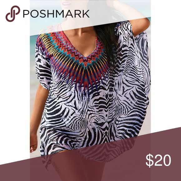 NWT🌞Stunning beach cover up🌞 NWT🌞Stunning short sleeve chiffon zebra print cover up🌞ready for summer light weight perfect for packing🌞 Swim Coverups