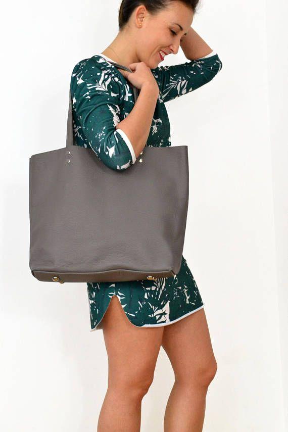 LEATHER TOTE Bag Ash Grey Large Tote Bag Grey Leather Bag