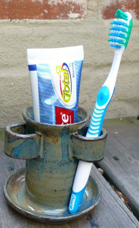 Handmade Ceramic Bathroom Toothbrush/Toothpaste Holder - Wheel Thrown by NYCZACK on Etsy https://www.etsy.com/listing/202333210/handmade-ceramic-bathroom