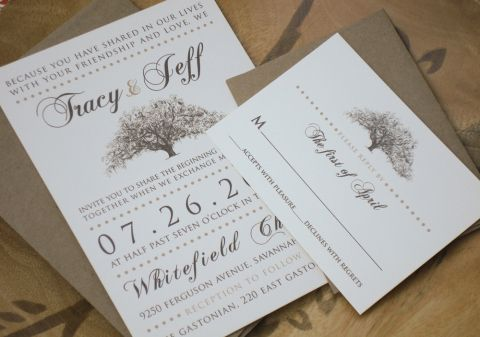 Rustic Wedding Invitations Live Oak Tree Brown Bag Kraft Paper Envelopes