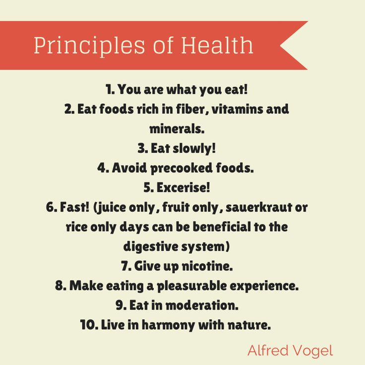 Here are Alfred Vogel's ten principles of nutrition, which he developed throughout his lifetime: