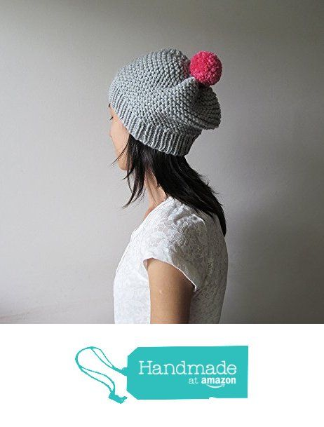 Hand Knitted Hat in Silver Grey - Beanie with Fuchsia Pom Pom - Slouch Seamless Hat - Winter Hat - Wool Blend - Made to Order from NaryaBoutique https://www.amazon.com/dp/B01LXAEA3C/ref=hnd_sw_r_pi_dp_qdW5xbMFRQBG1 #handmadeatamazon