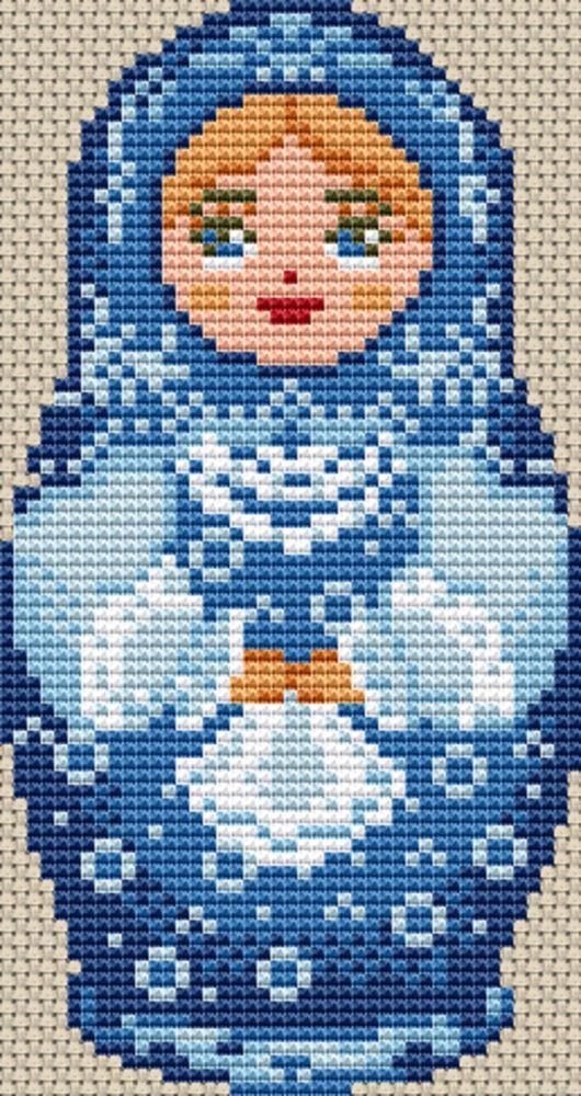 Blue Russian Doll Cross Stitch. Stitch Count : 43 x 81. | eBay!