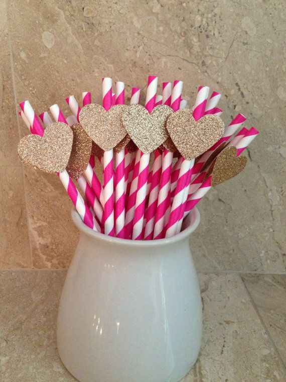 #PartyStraws #PinkandGold #WeddingDecor 28 Pink Striped Party Straws with Gold Glitter Hearts, Baby Shower Decor, Wedding Decor, Birthday Party, Bridal Shower, Wedding Shower