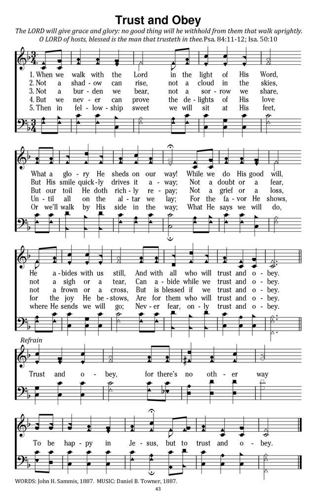 When We Walk With The Lord Trust and Obey - Hymnary.org