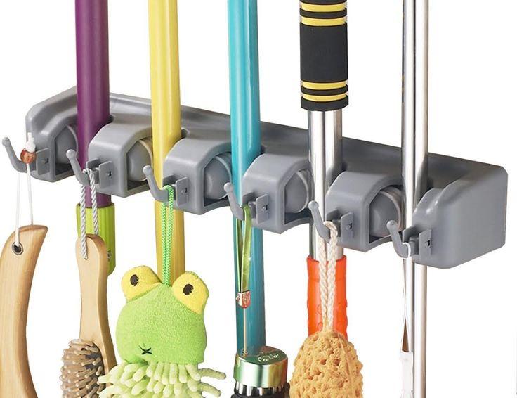 Amazon Com Ihomeset 174 Mop And Broom Holder 5 Position