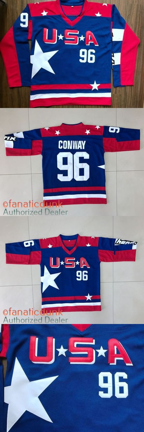 Hockey-Other 780: Mighty Ducks D2 Movie Team Usa Hockey Stitched Jersey #96 Charlie Conway Blue -> BUY IT NOW ONLY: $34.99 on eBay!